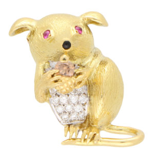 Fancy Brown Diamond and Ruby Mouse Brooch