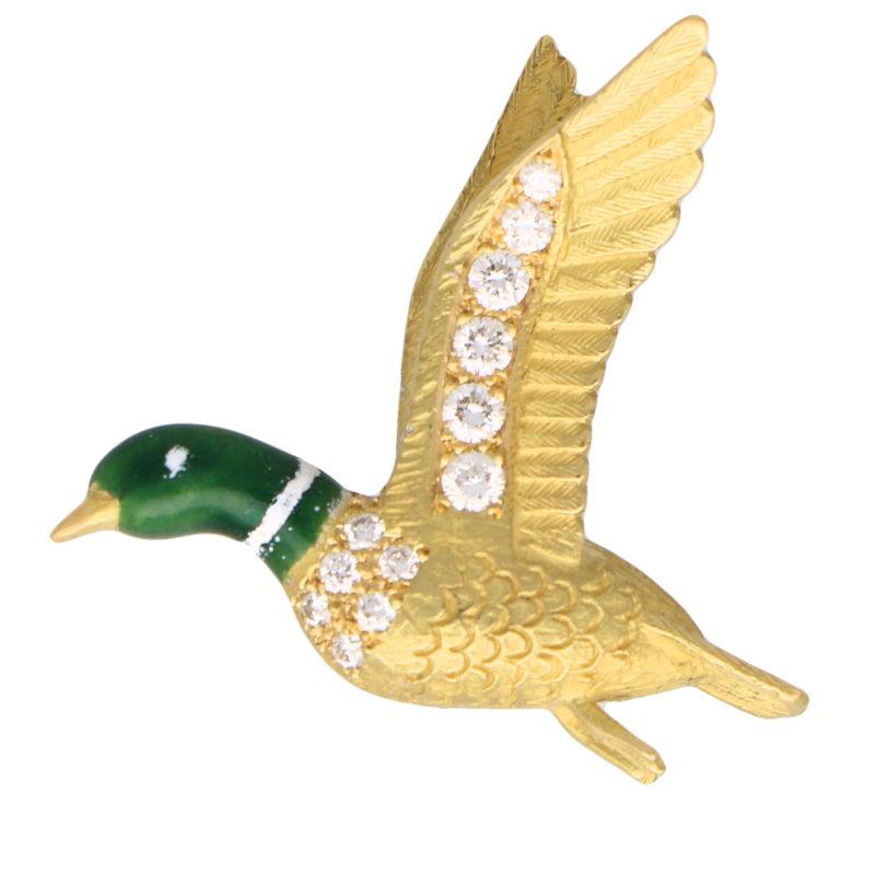 Green Enamel and Diamond Duck Brooch