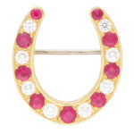 Ruby and Diamond Lucky Horseshoe Brooch