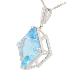 57.24ct Blue Aquamarine and Diamond Pendant