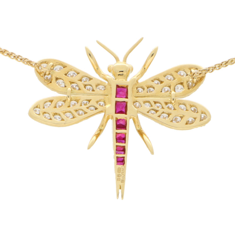 Diamond and Ruby Dragonfly Pendant Necklace