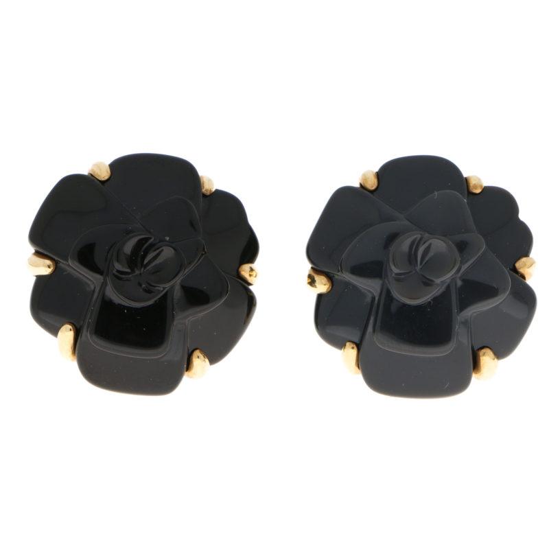 Signature Chanel Onyx Camellia Earrings