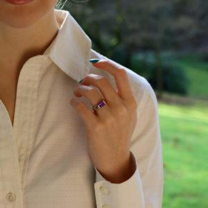Emerald Cut Amethyst Band Ring