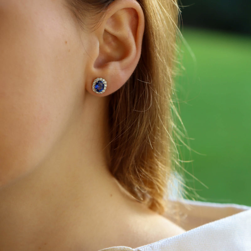 Sapphire and Diamond Cluster Halo Earrings