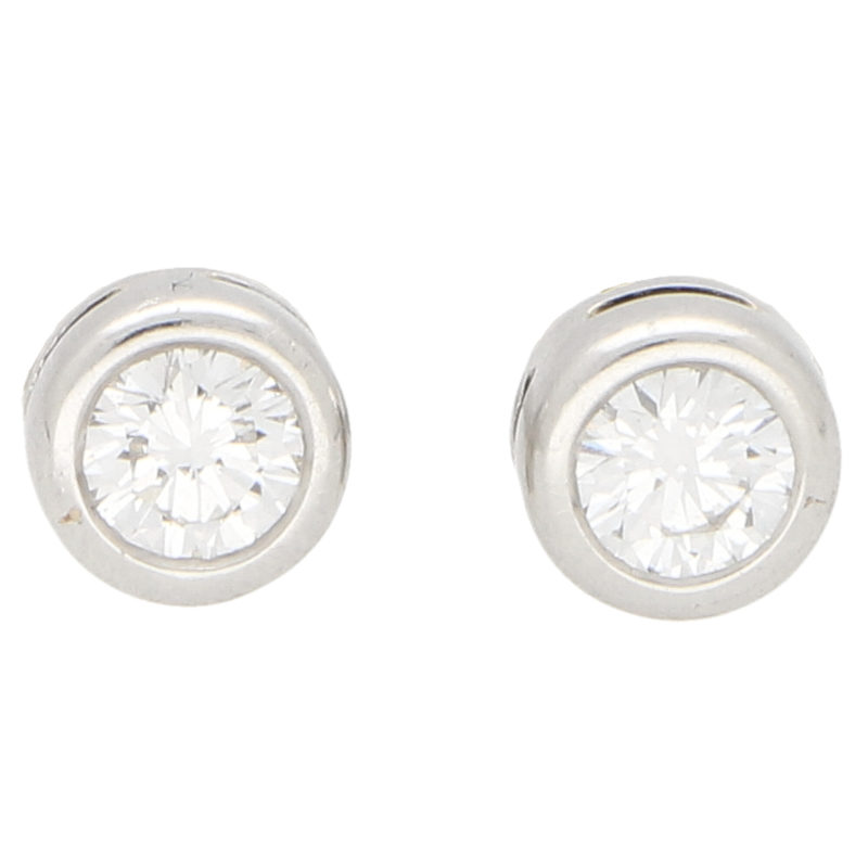 Solitaire Diamond Stud Earrings 0.65ct each