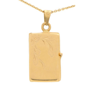 Vintage Double-Sided Rectangular Locket in Yellow Gold