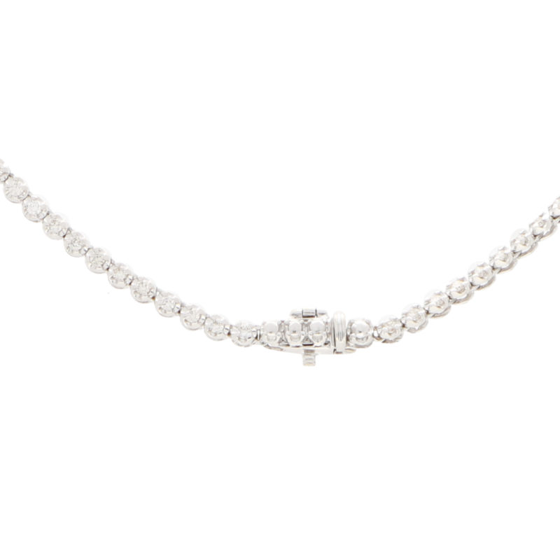 Diamond Riviere Necklace Set in 18k White Gold