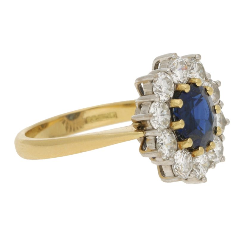 Sapphire and Diamond Diana Style Cluster Engagement Ring
