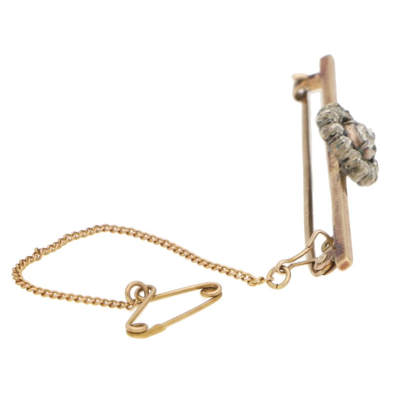 Antique Victorian Old Cut Diamond Bar Pin Brooch