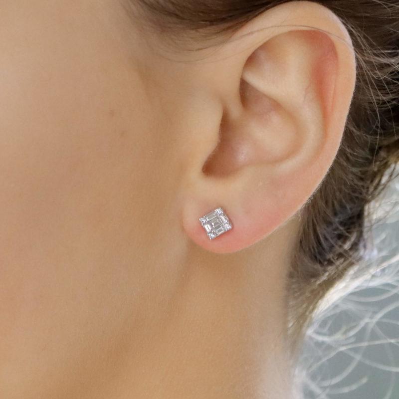 Baguette cut diamond Earrings