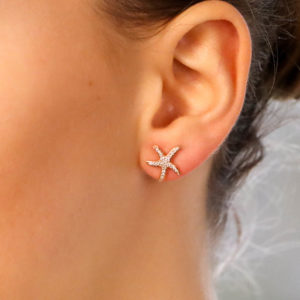 Medium Diamond Starfish Stud Earrings in Rose Gold