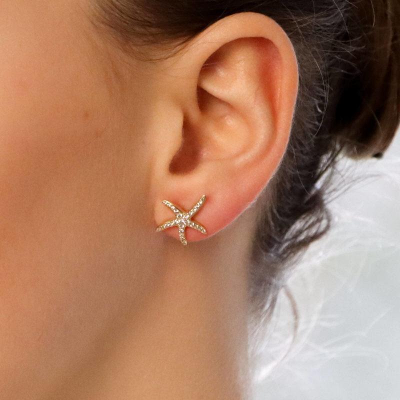 Large Diamond Starfish Stud Earrings in Yellow Gold