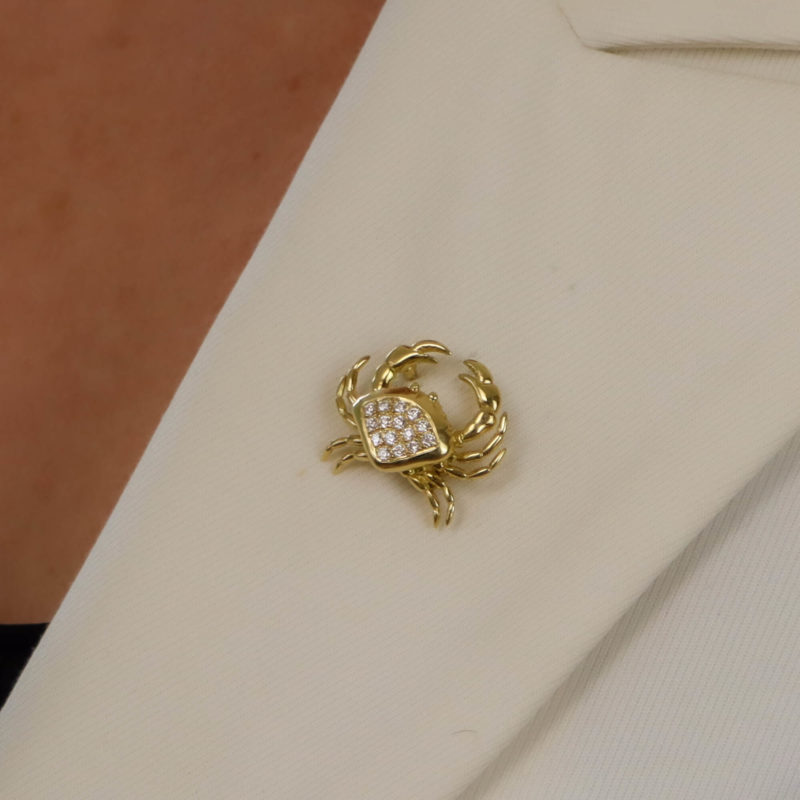 Diamond Crab Pin Brooch