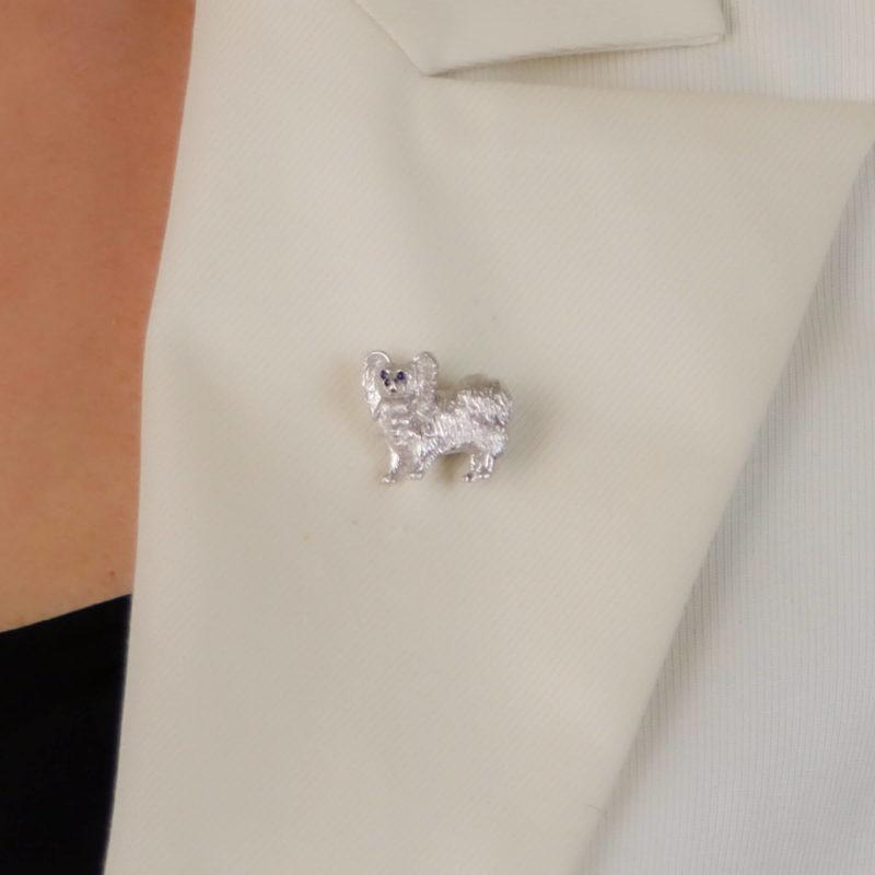 Sapphire and Diamond Papillon Dog Pin Brooch
