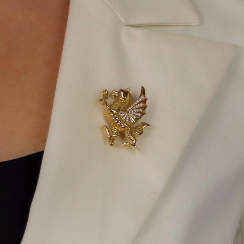 Diamond and Ruby Dragon Pin Brooch
