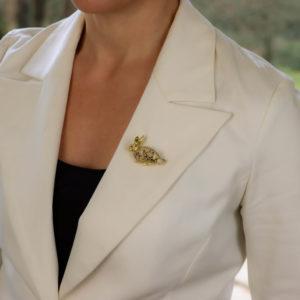 Cognac Diamond and Ruby Rabbit Pin Brooch