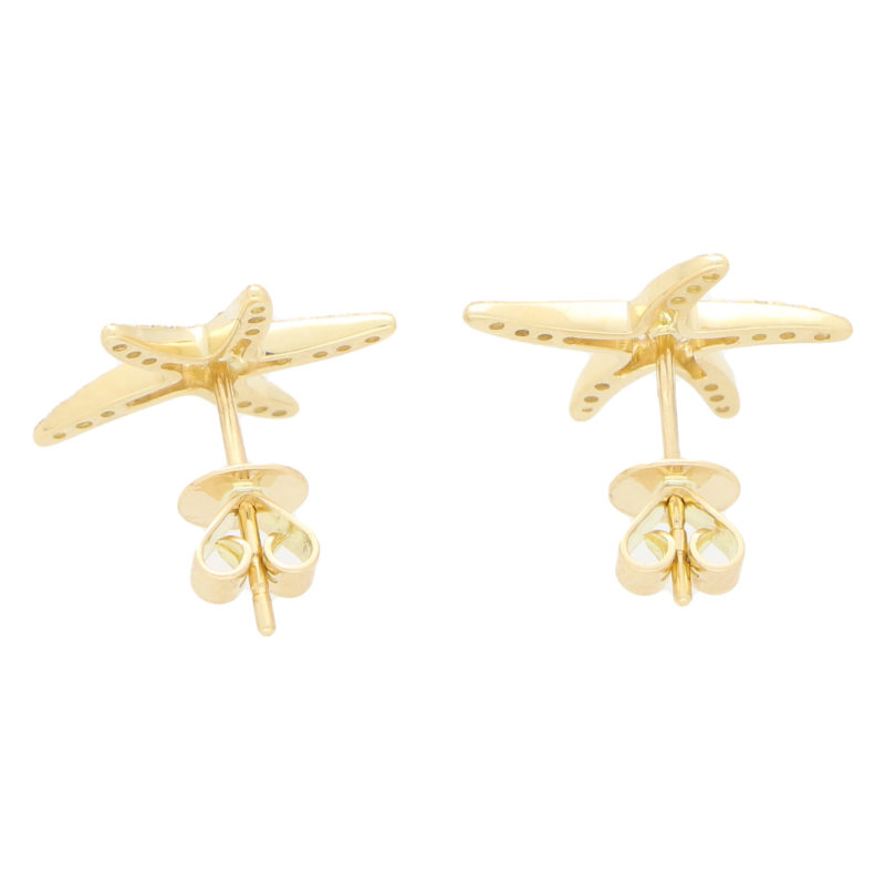 Large Diamond Starfish Stud Earrings in Yellow Gold