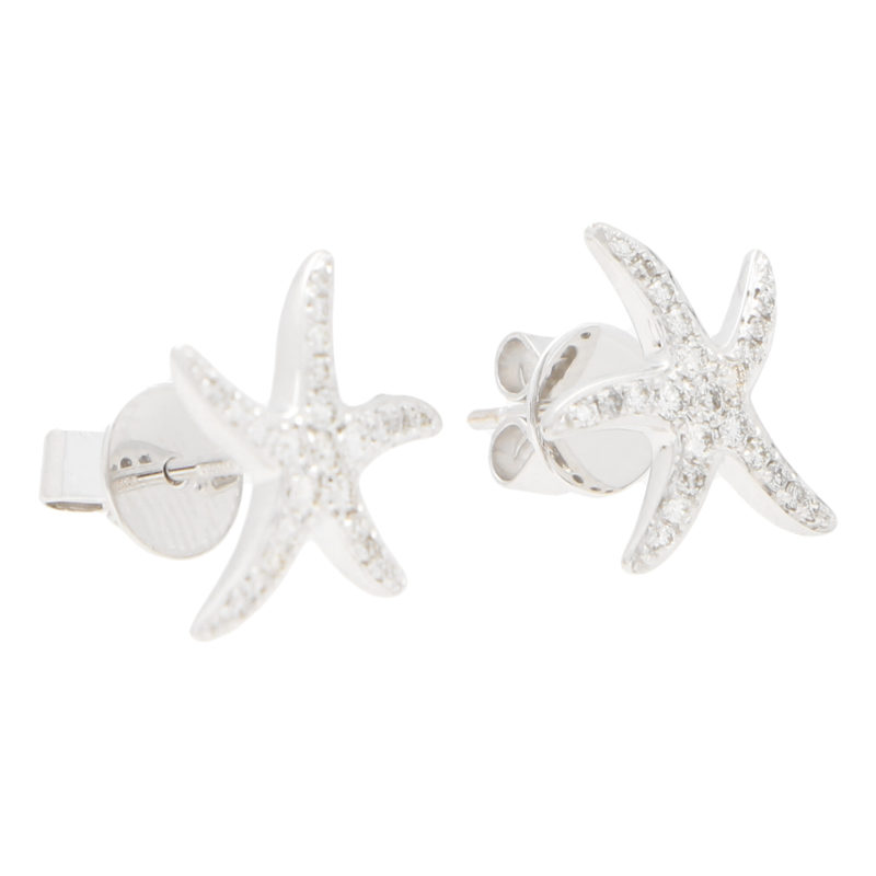 Medium Diamond Starfish Stud Earrings in White Gold