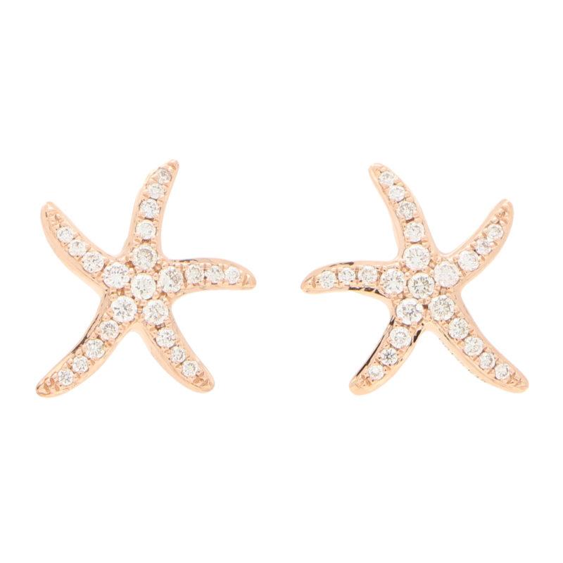 Medium Diamond Starfish Stud Earrings in Rose Gold
