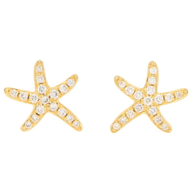 Small Diamond Starfish Stud Earrings in Yellow Gold