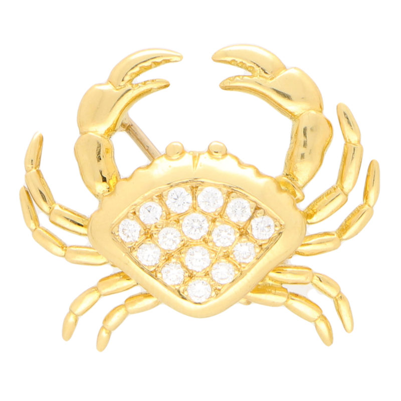 Diamond Crab Pin Brooch