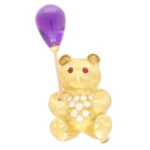 Diamond, Amethyst and Ruby Teddy Bear Pin Brooch