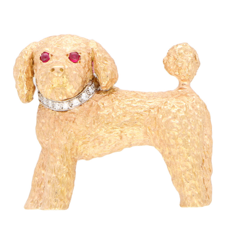 Ruby and Diamond Toy Poodle Dog Pin Brooch