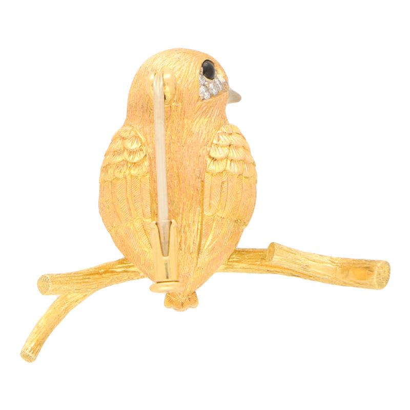 Yellow and White Diamond Bird Pin Brooch