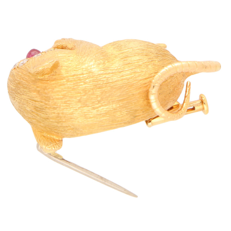 Diamond and Ruby Field Mouse Pin Brooch