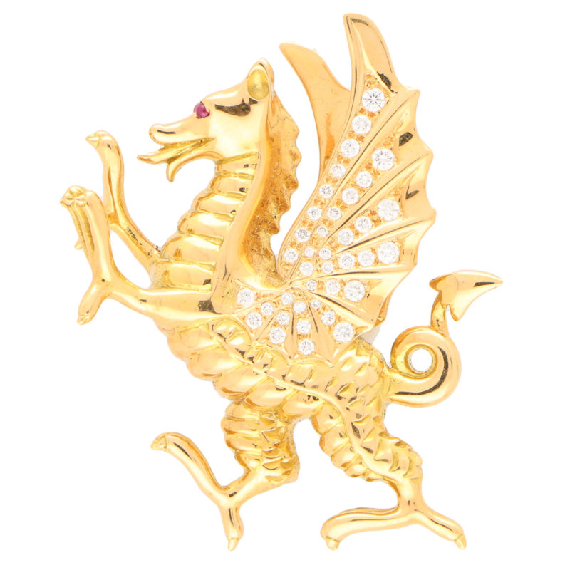 Diamond and Ruby Dragon Pin Brooch