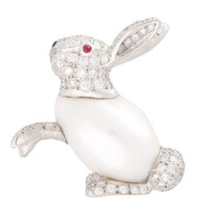 Baroque Freshwater Pearl and Diamond Rabbit Pin Brooch