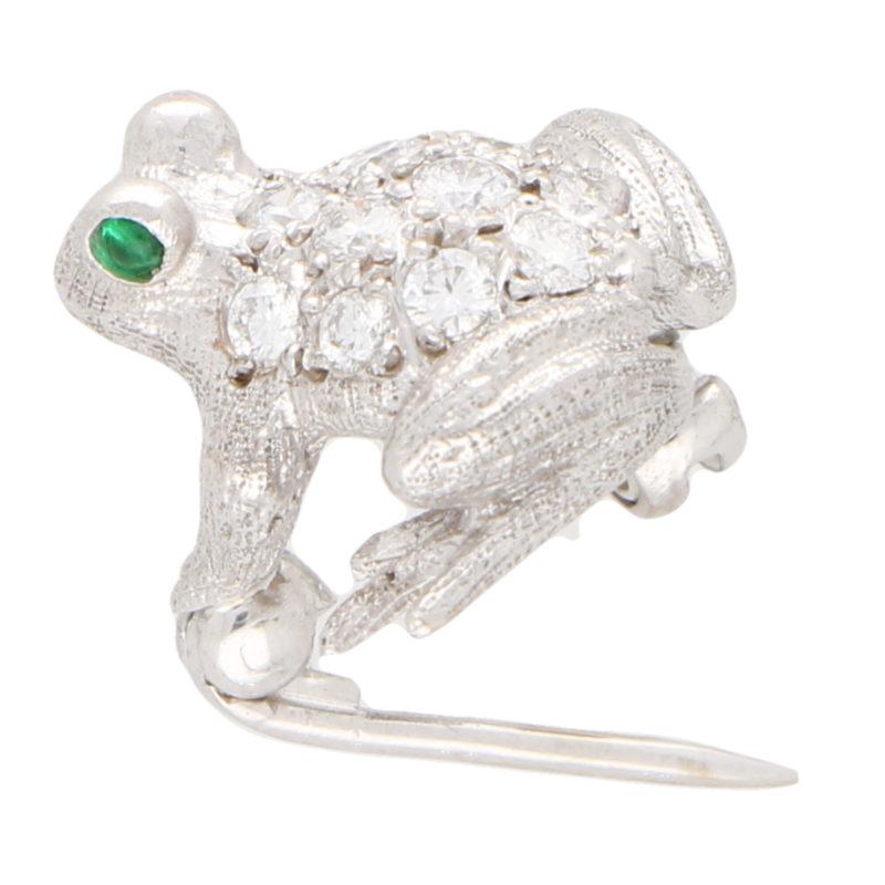 Diamond and Emerald Frog Pin Brooch
