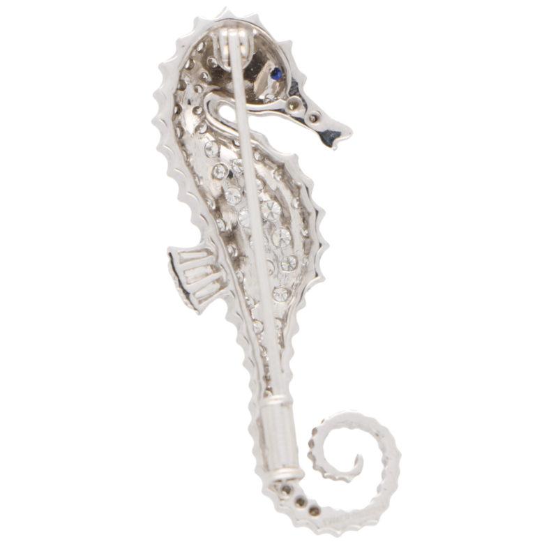 Diamond and Sapphire Seahorse Pin Brooch