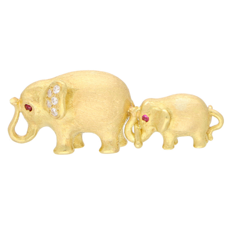 Ruby and Diamond Mother and Baby Elephant Brooch