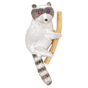 Black and White Diamond Raccoon Pin Brooch