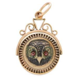 A Victorian owl fob pendant circa 1870