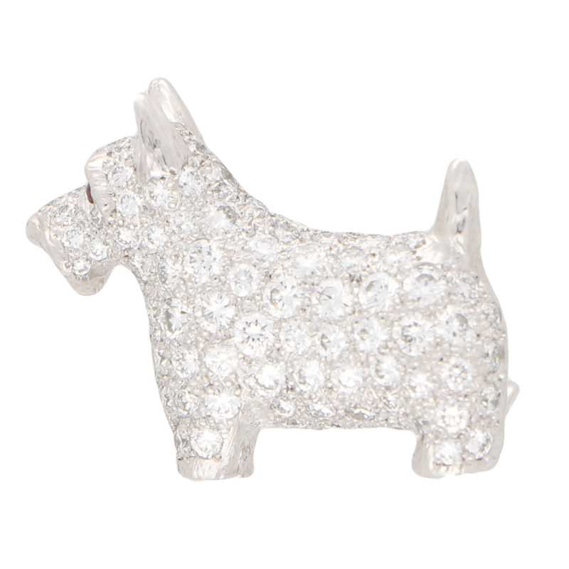 Diamond and Ruby Scottish Terrier Dog Pin Brooch