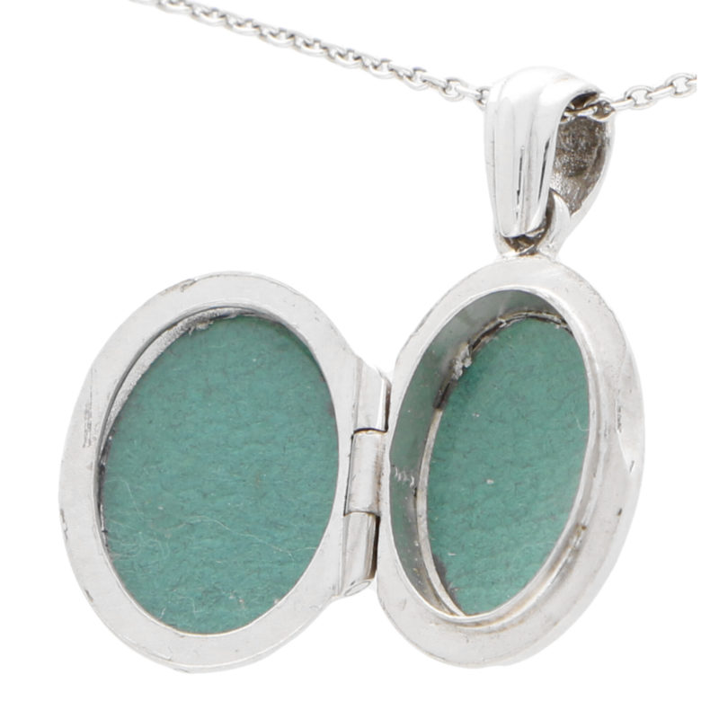 White gold locket in solid 18K gold