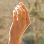 Vintage Cartier Three Diamond Love Ring in Yellow Gold Size 50