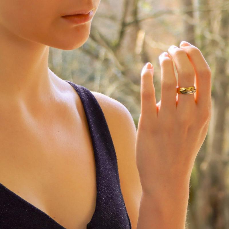 Vintage Les Must De Cartier Trinity Ring Size 49