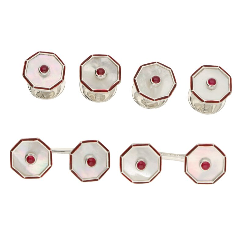 Mother of Pearl, Ruby and Enamel Dress Set