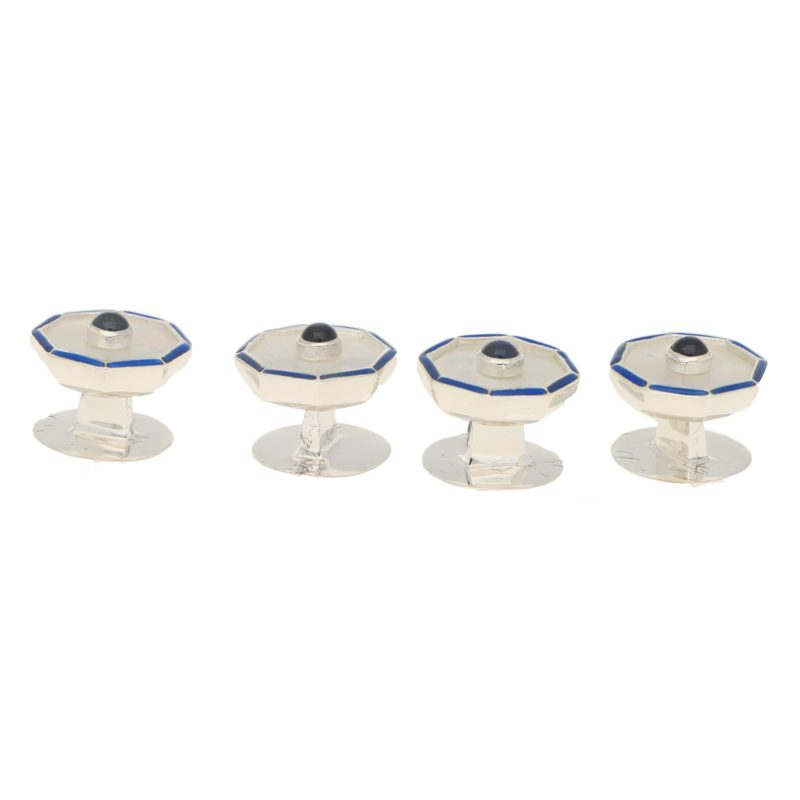 Mother of Pearl, Sapphire and Enamel Dress Set