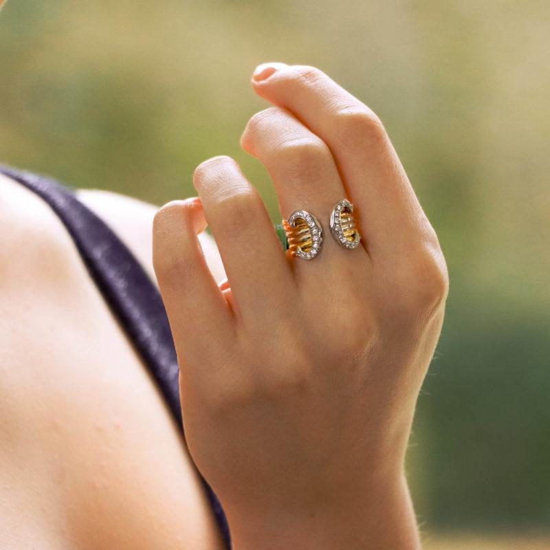Vintage C de Cartier Diamond Trinity Band Ring