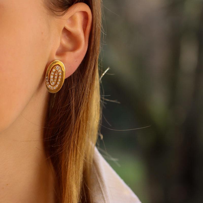 Bulgari Diamond Swirl Clip On Earrings