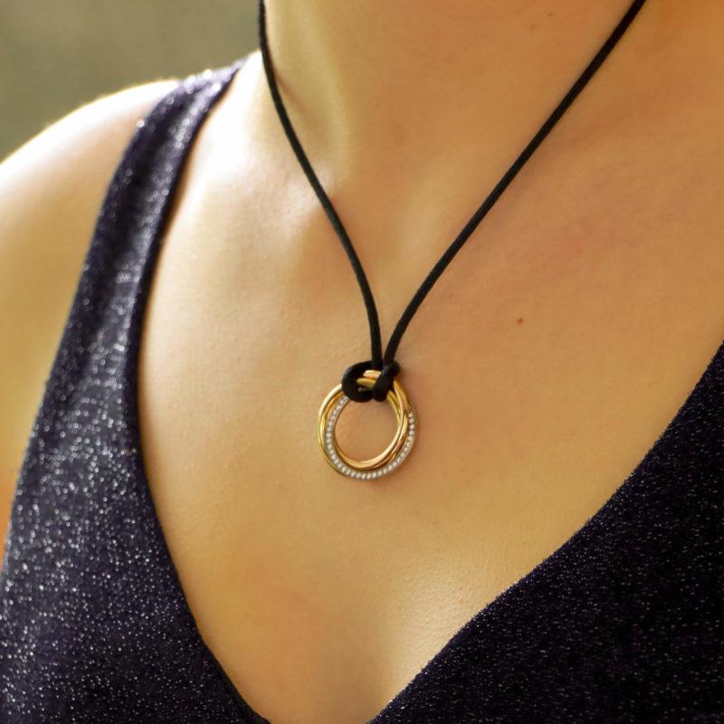 Vintage Cartier Medium Diamond Trinity Necklace