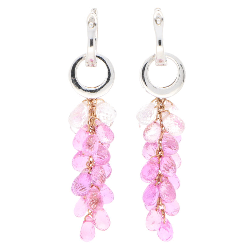 Briolette Pink Sapphire and Diamond Convertible Drop Earrings
