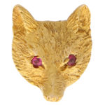 Vintage Ruby Eyed Fox Pin Brooch