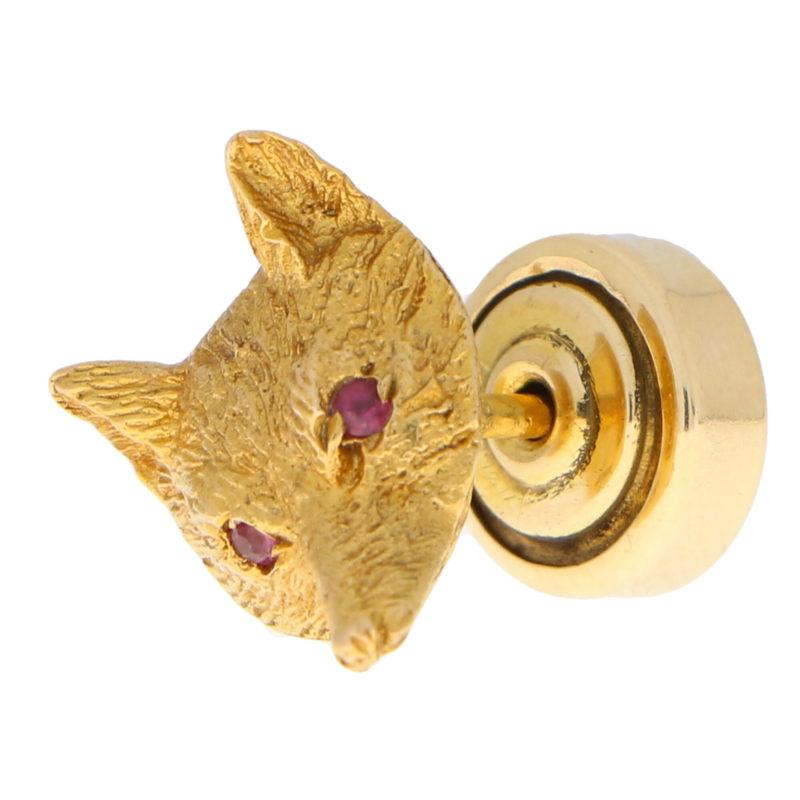 Vintage Ruby Eyed Fox Pin Brooch