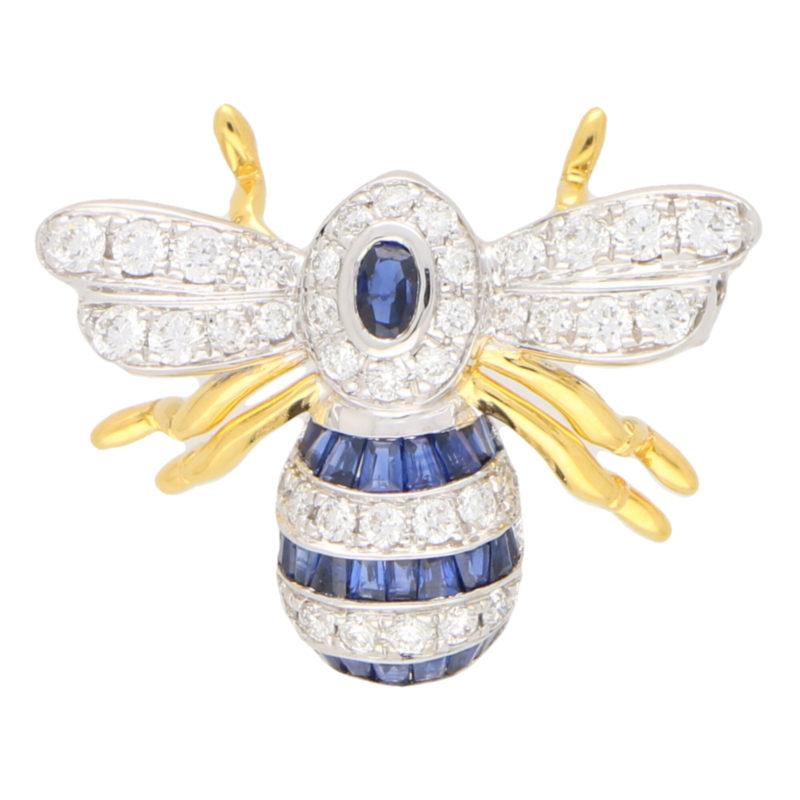 Sapphire and Diamond Bee Brooch