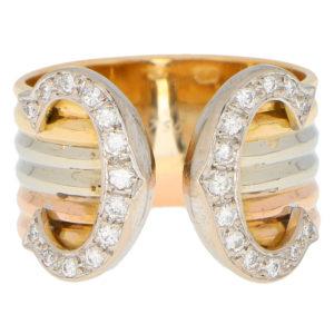 C de Cartier Diamond Trinity Band Ring